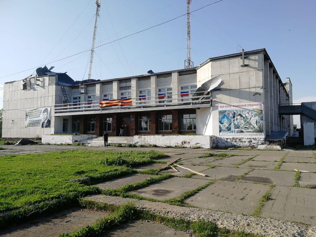 Дом культуры села Рудянское после урагана